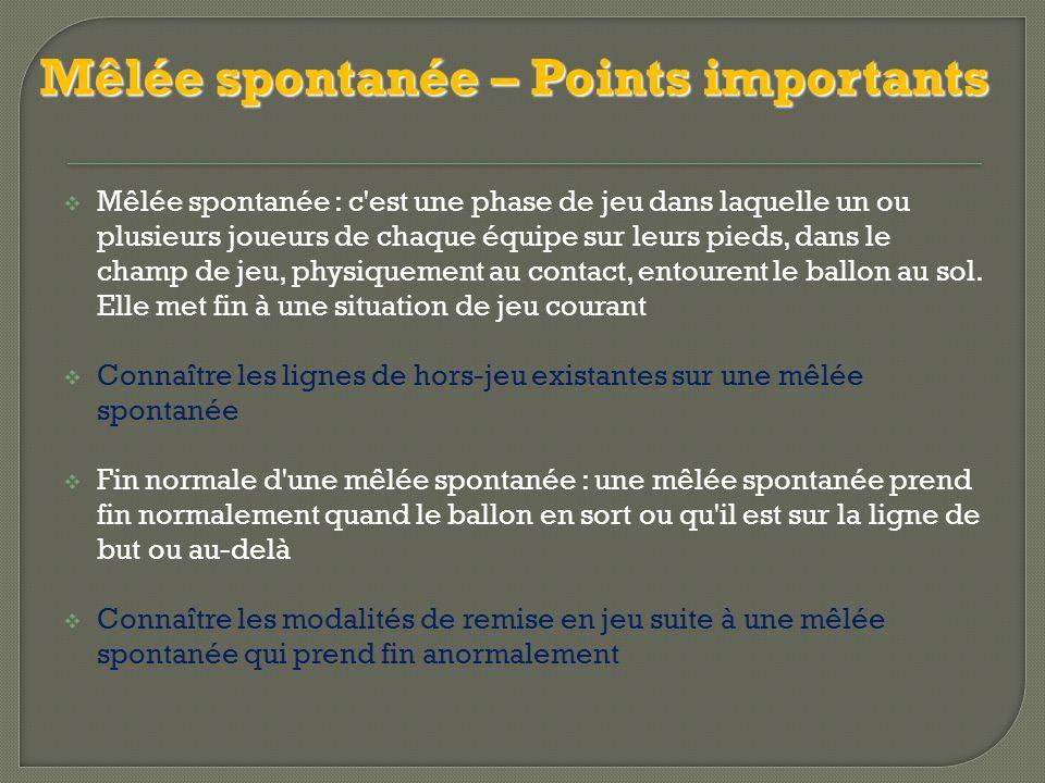 Mêlée spontanée – Points importants  Mêlée spontanée : c est une phase de jeu dans laquelle un ou plusieurs joueurs de chaque équipe sur leurs pieds, dans le champ de jeu, physiquement au contact, entourent le ballon au sol.