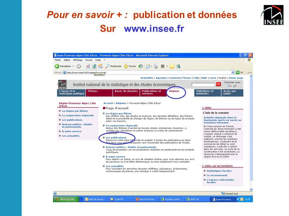 Pour en savoir + : publication et données Sur www.insee.fr