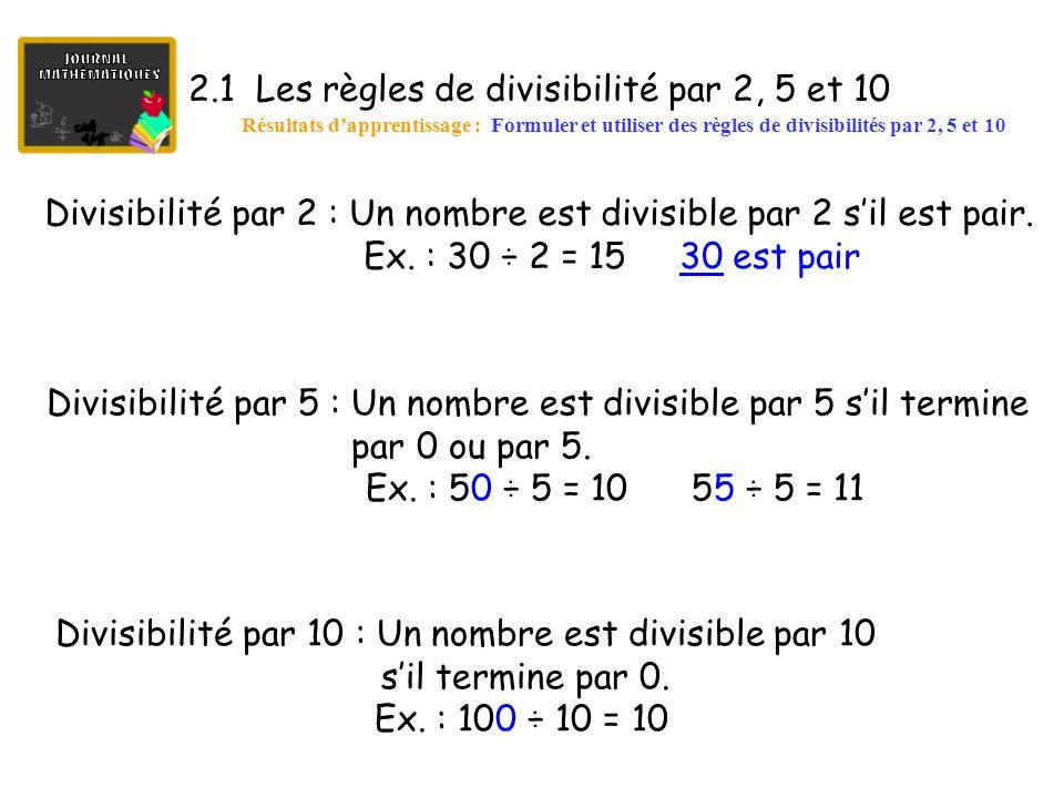 2.2 Les règles de divisibilité par 3, 4, 6 et 9 Résultats d'apprentissage : Formuler et utiliser des règles de divisibilités par 3, 4, 6 et 9 Divisibilité par 3 : Un nombre est divisible par 3 si la somme des chiffres qui le composent est divisible par 3.