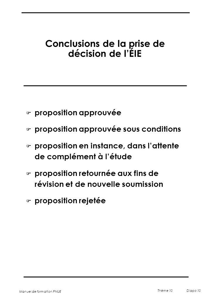 Manuel de formation PNUE Thème 10 Diapo 10 Conclusions de la prise de décision de l'ÉIE F proposition approuvée F proposition approuvée sous condition