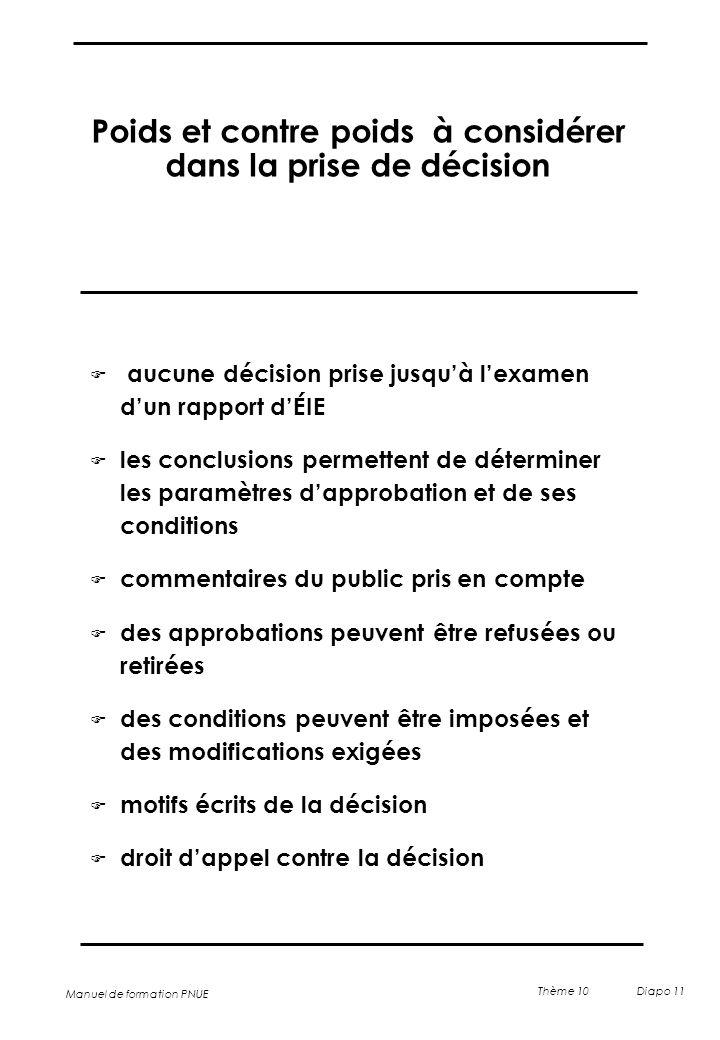 Manuel de formation PNUE Thème 10 Diapo 11 Poids et contre poids à considérer dans la prise de décision  aucune décision prise jusqu'à l'examen d'un