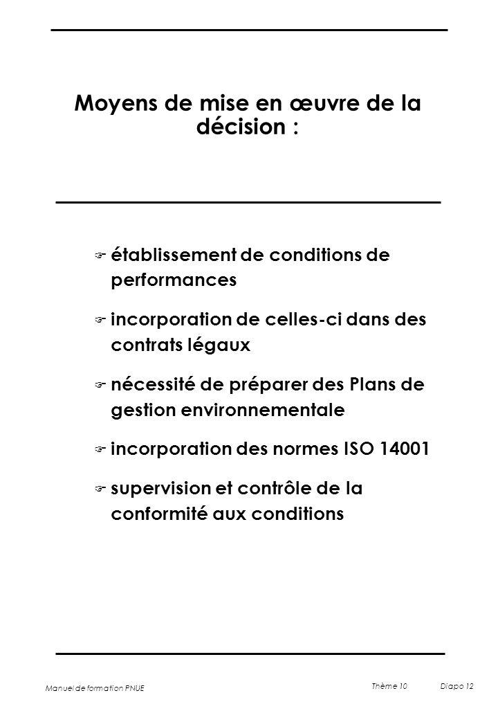 Manuel de formation PNUE Thème 10 Diapo 12 Moyens de mise en œuvre de la décision : F établissement de conditions de performances F incorporation de c