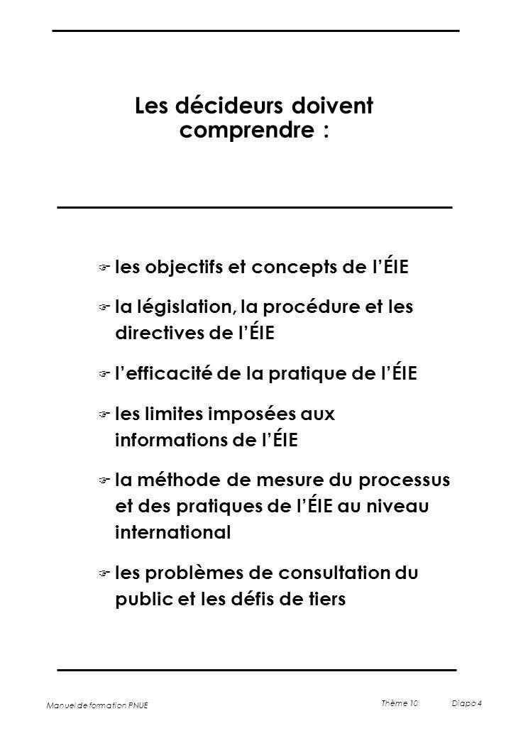 Manuel de formation PNUE Thème 10 Diapo 4 Les décideurs doivent comprendre : F les objectifs et concepts de l'ÉIE F la législation, la procédure et le
