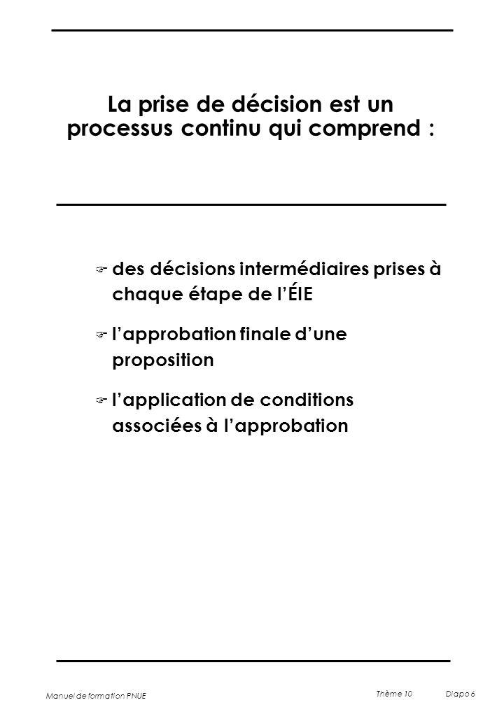 Manuel de formation PNUE Thème 10 Diapo 6 La prise de décision est un processus continu qui comprend : F des décisions intermédiaires prises à chaque
