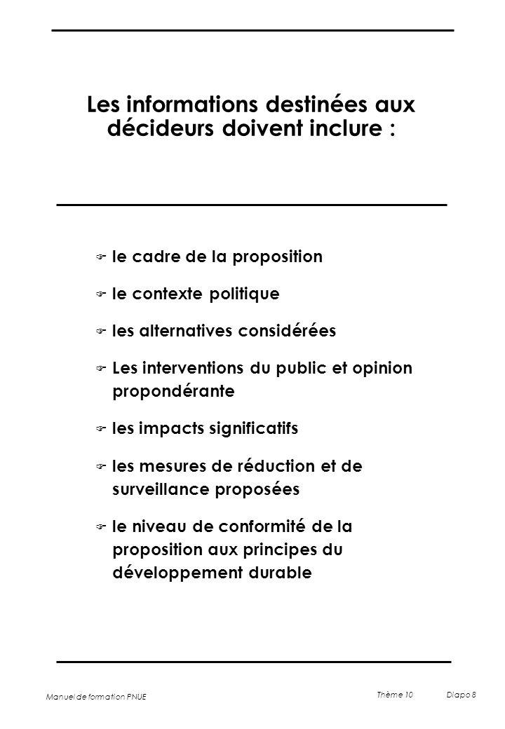 Manuel de formation PNUE Thème 10 Diapo 8 Les informations destinées aux décideurs doivent inclure : F le cadre de la proposition F le contexte politi
