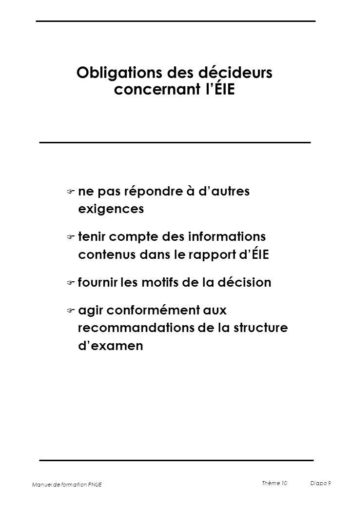 Manuel de formation PNUE Thème 10 Diapo 9 Obligations des décideurs concernant l'ÉIE F ne pas répondre à d'autres exigences F tenir compte des informa