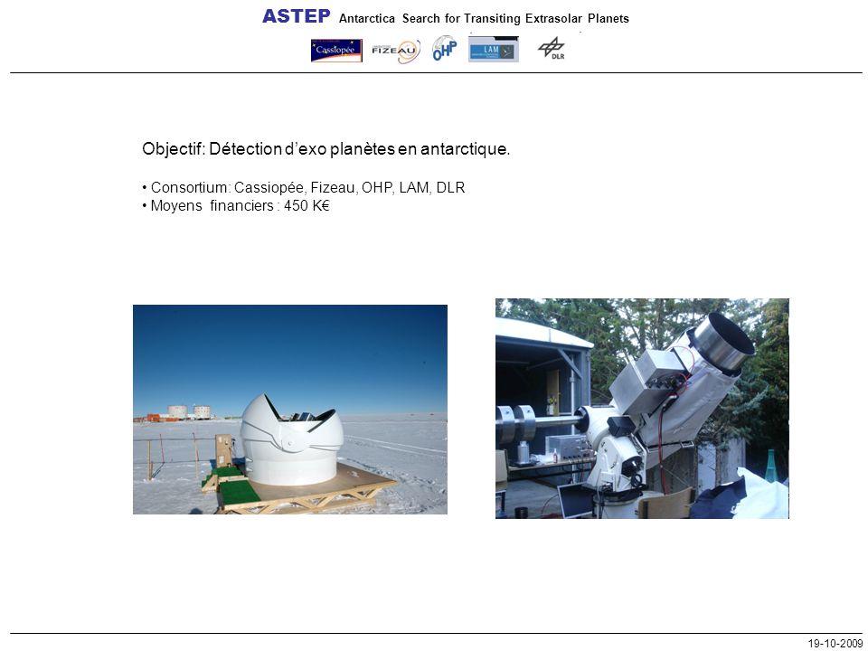 19-10-2009 Objectif: Détection d'exo planètes en antarctique. Consortium: Cassiopée, Fizeau, OHP, LAM, DLR Moyens financiers : 450 K€ ASTEP Antarctica