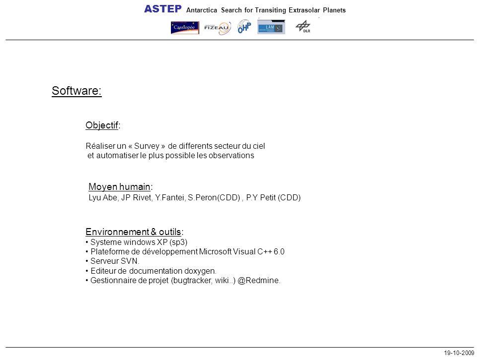 19-10-2009 Software: Objectif: Réaliser un « Survey » de differents secteur du ciel et automatiser le plus possible les observations ASTEP Antarctica