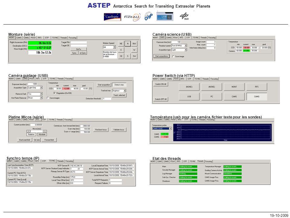 ASTEP Antarctica Search for Transiting Extrasolar Planets 19-10-2009 Monture (série) Caméra science (USB) Power Switch (via HTTP) Température (usb pour les caméra, fichier texte pour les sondes) Etat des threads Synchro temps (IP) Platine Micos (série) Caméra guidage (USB)
