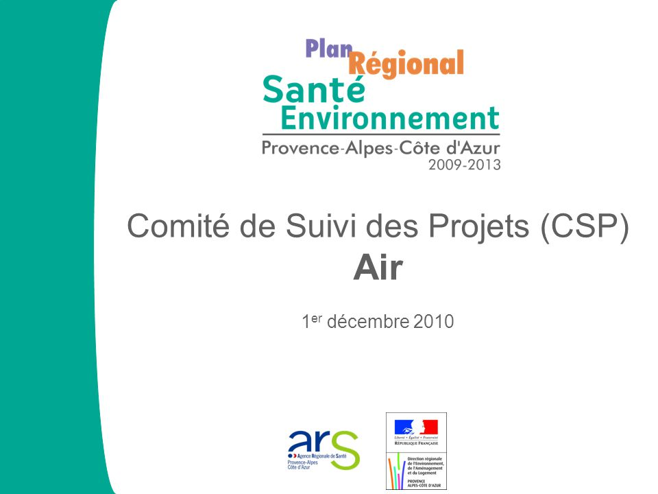 Etat d'avancement des projets 0255075100 Avancement des projets (%) Nombre de projets 0 20 40 PRSE PACA 2009-2013 CSP Air Marseille 01/12/10 57 23 18 9 3 4 Moyenne : 26,75 %