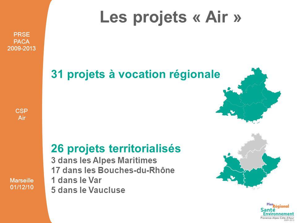 31 projets à vocation régionale 26 projets territorialisés 3 dans les Alpes Maritimes 17 dans les Bouches-du-Rhône 1 dans le Var 5 dans le Vaucluse Le