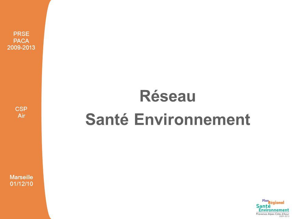 Réseau Santé Environnement PRSE PACA 2009-2013 CSP Air Marseille 01/12/10