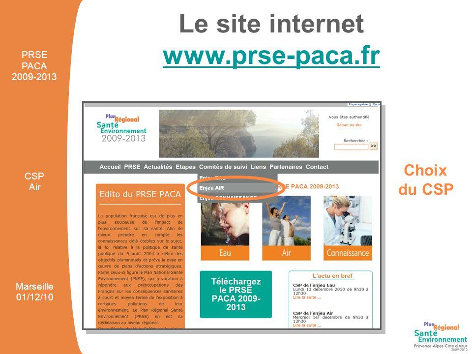 Le site internet www.prse-paca.fr Fiches projets PRSE PACA 2009-2013 CSP Air Marseille 01/12/10
