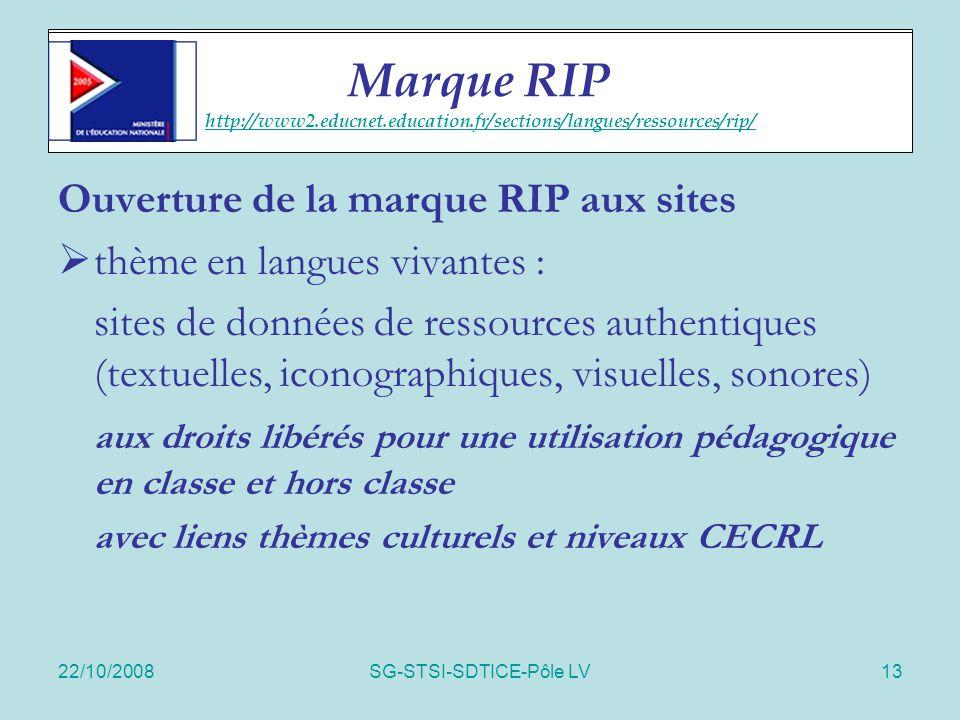 22/10/2008SG-STSI-SDTICE-Pôle LV13 RIP sites Ouverture de la marque RIP aux sites  thème en langues vivantes : sites de données de ressources authent