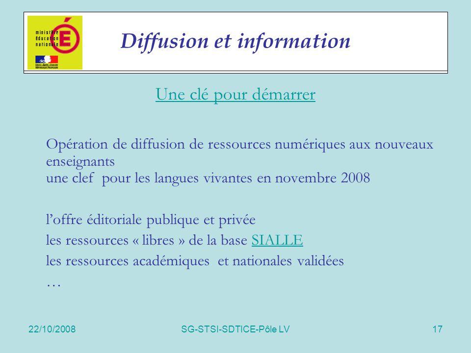 22/10/2008SG-STSI-SDTICE-Pôle LV17 Actions spécifiques Une clé pour démarrer Opération de diffusion de ressources numériques aux nouveaux enseignants