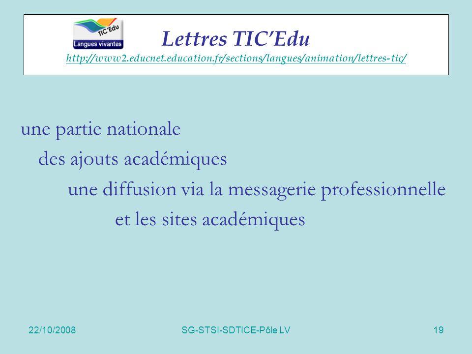 22/10/2008SG-STSI-SDTICE-Pôle LV19 Lettres TIC'Edu une partie nationale des ajouts académiques une diffusion via la messagerie professionnelle et les