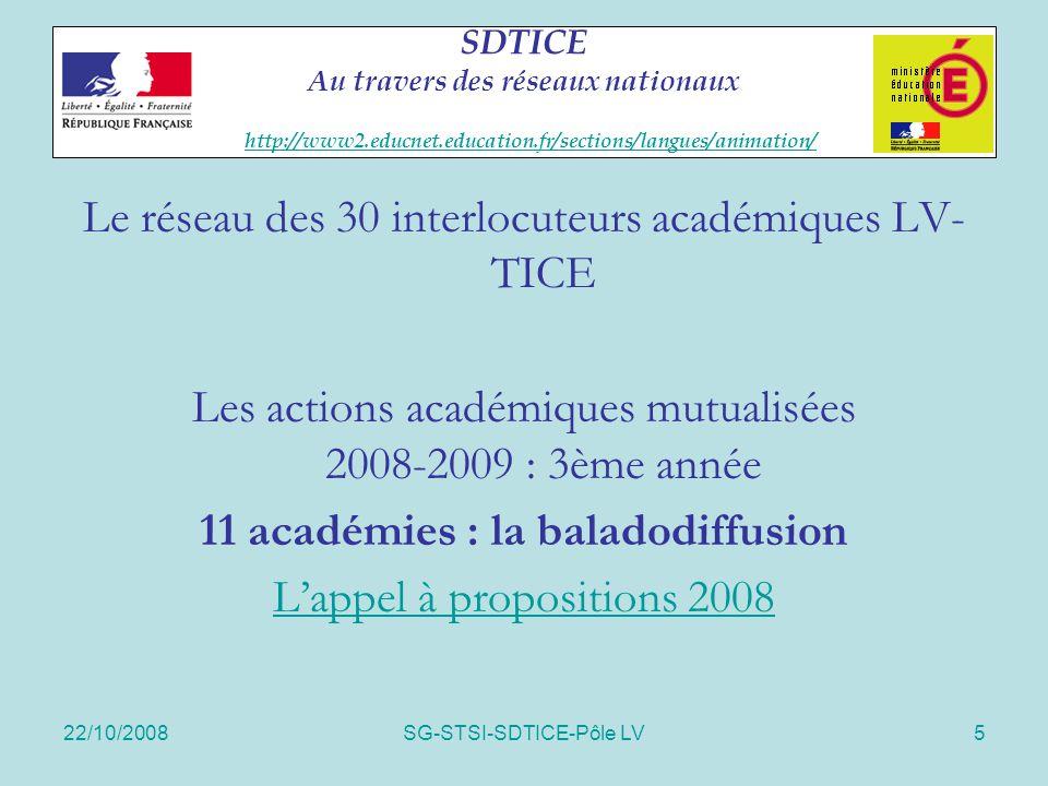 22/10/2008SG-STSI-SDTICE-Pôle LV5 SDTICE Au travers des réseaux nationaux http://www2.educnet.education.fr/sections/langues/animation/ http://www2.edu