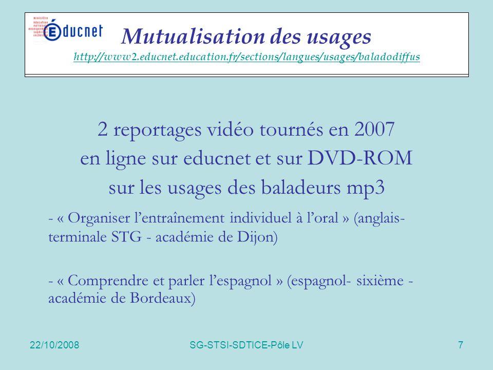 22/10/2008SG-STSI-SDTICE-Pôle LV7 Actions spécifiques 2 reportages vidéo tournés en 2007 en ligne sur educnet et sur DVD-ROM sur les usages des balade