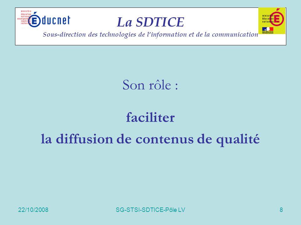 22/10/2008SG-STSI-SDTICE-Pôle LV8 La SDTICE Sous-direction des technologies de l'information et de la communication Son rôle : faciliter la diffusion
