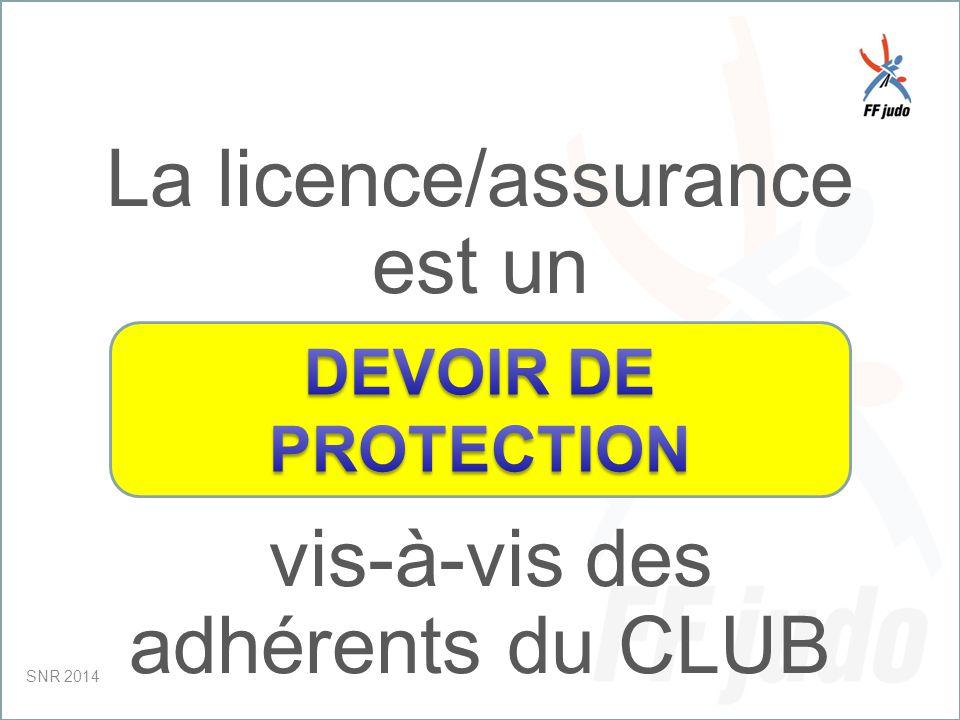CD – 19-juin-10 La licence/assurance est un vis-à-vis des adhérents du CLUB SNR 2014