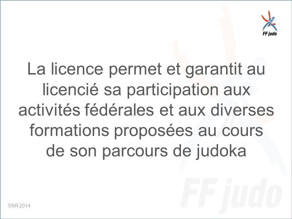 CD – 19-juin-10 Elle lui garantit la qualité du cadre fédéral (Enseignants, Clubs, Arbitres, Cadres, etc…) SNR 2014