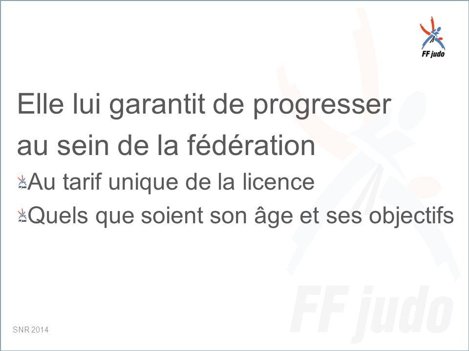 CD – 19-juin-10 Elle lui garantit de progresser au sein de la fédération Au tarif unique de la licence Quels que soient son âge et ses objectifs SNR 2014