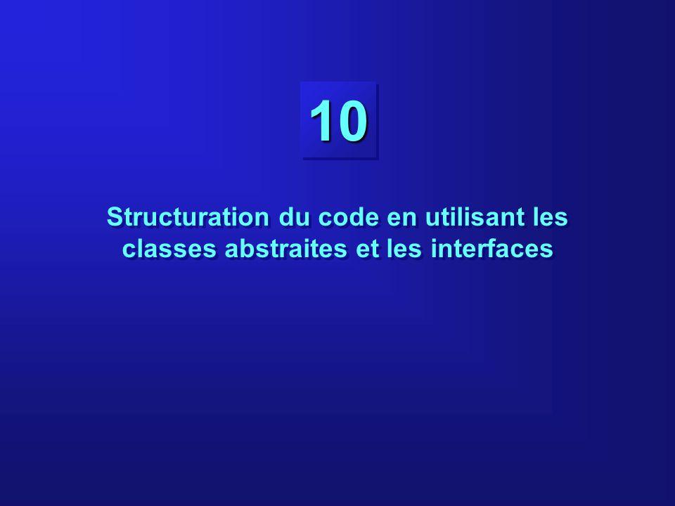 10-2 Objectifs À la fin de ce cours, vous serez capables de : Définir des classes abstraites Définir des méthodes abstraites Définir des interfaces Implémenter des interfaces À la fin de ce cours, vous serez capables de : Définir des classes abstraites Définir des méthodes abstraites Définir des interfaces Implémenter des interfaces