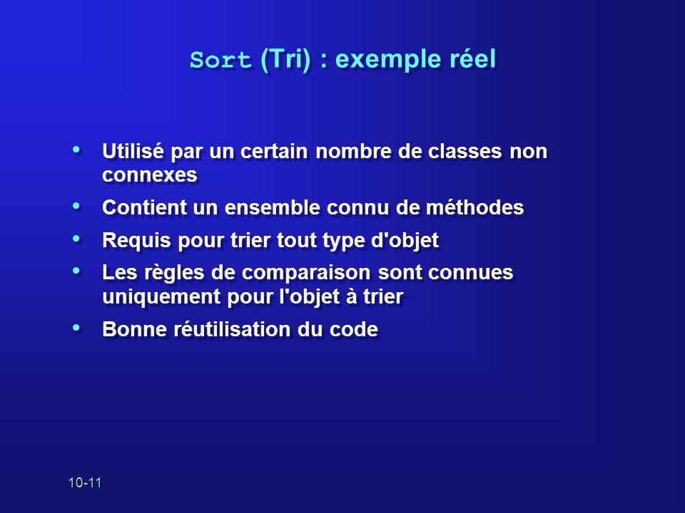 10-11 Sort (Tri) : exemple réel Utilisé par un certain nombre de classes non connexes Contient un ensemble connu de méthodes Requis pour trier tout ty