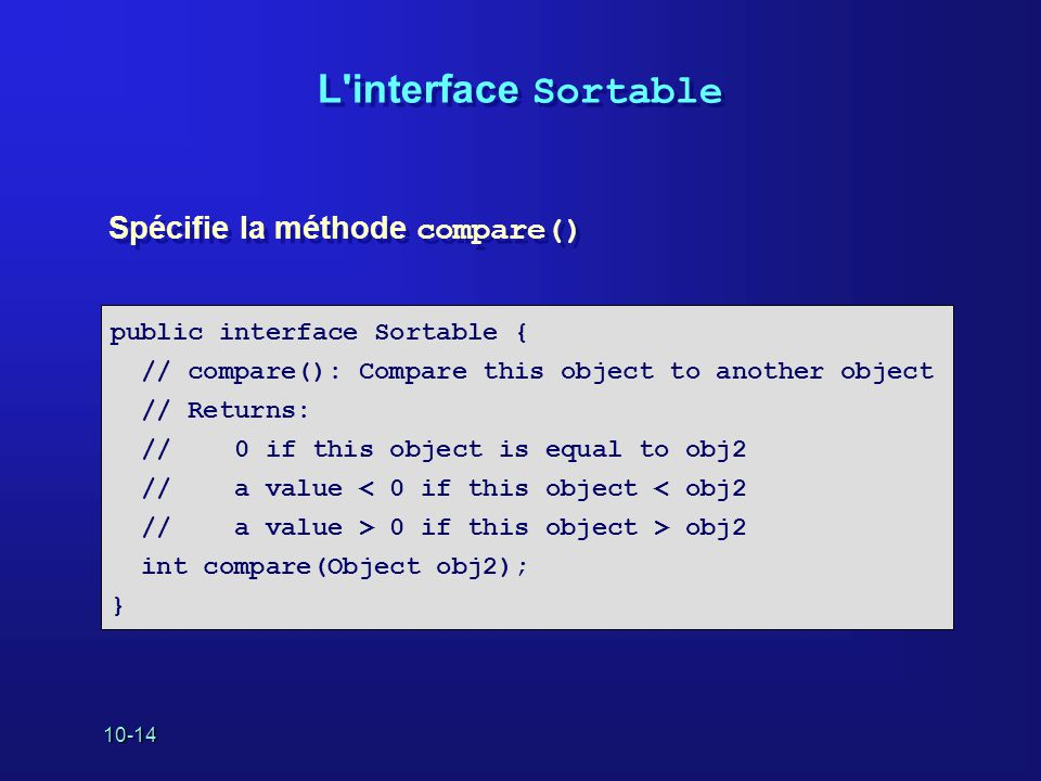 10-14 L'interface Sortable Spécifie la méthode compare() public interface Sortable { // compare(): Compare this object to another object // Returns: /