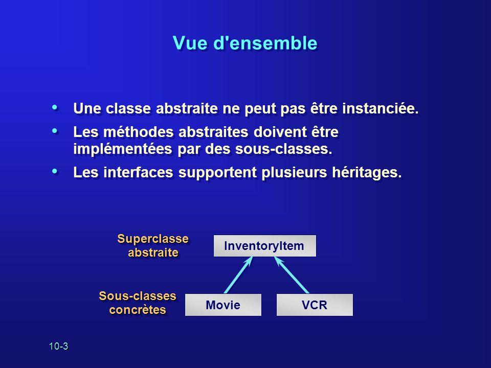 10-4 Définition des classes abstraites dans Java Utilisez le mot-clé abstract pour déclarer une classe abstraite.