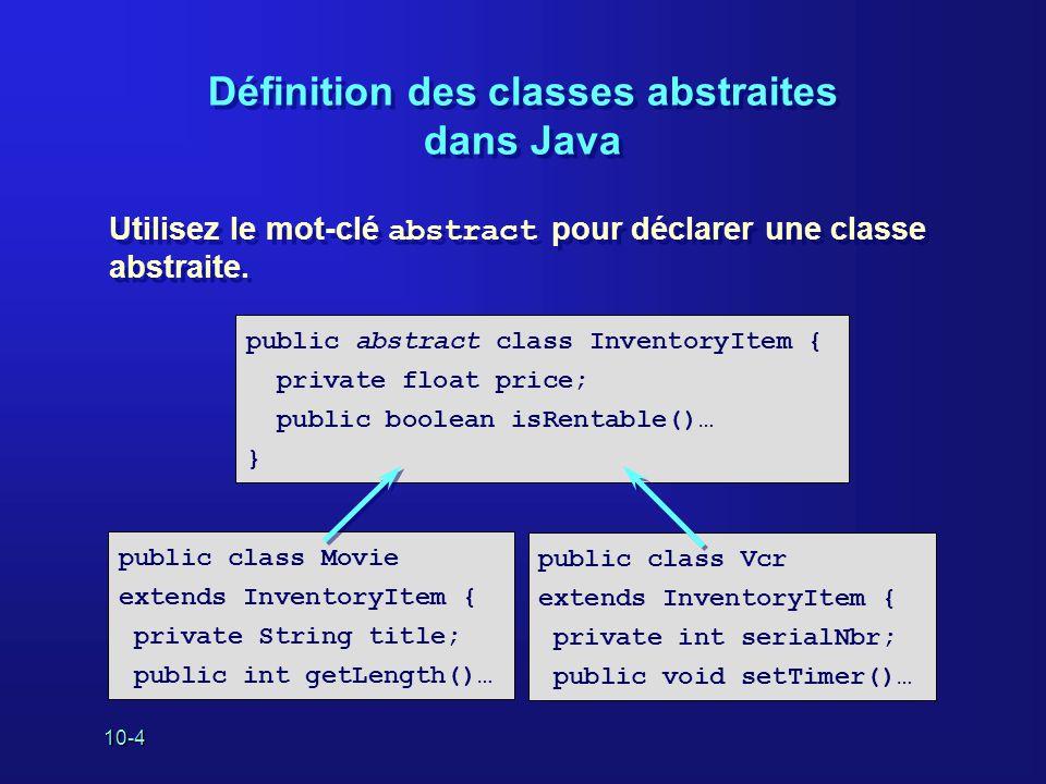 10-4 Définition des classes abstraites dans Java Utilisez le mot-clé abstract pour déclarer une classe abstraite. Utilisez le mot-clé abstract pour dé