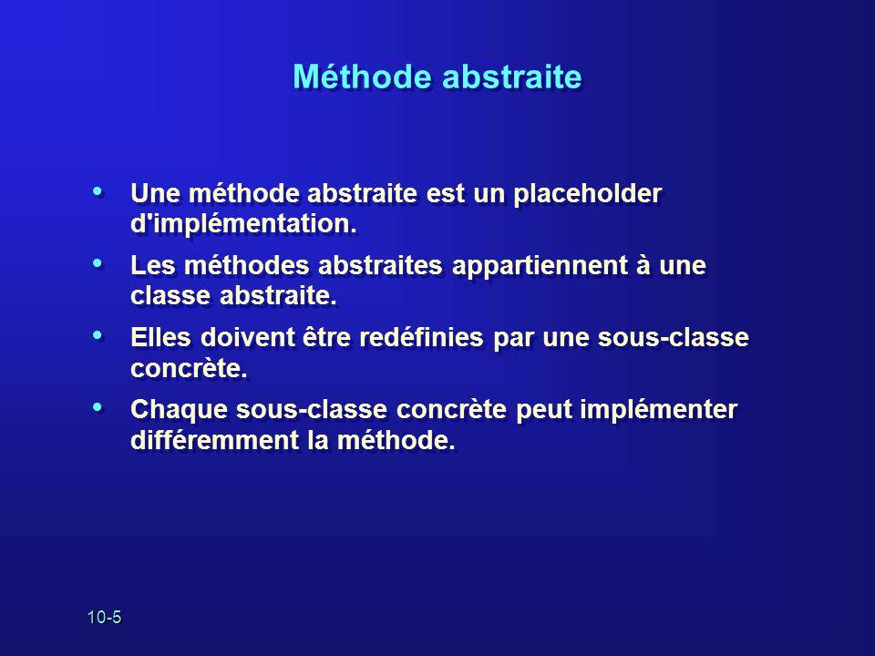10-5 Méthode abstraite Une méthode abstraite est un placeholder d'implémentation. Les méthodes abstraites appartiennent à une classe abstraite. Elles