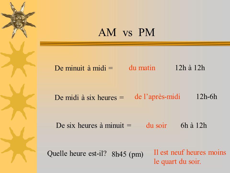 AM vs PM De minuit à midi = De midi à six heures = De six heures à minuit = du matin de l'après-midi du soir 12h à 12h 12h-6h 6h à 12h Quelle heure est-il.