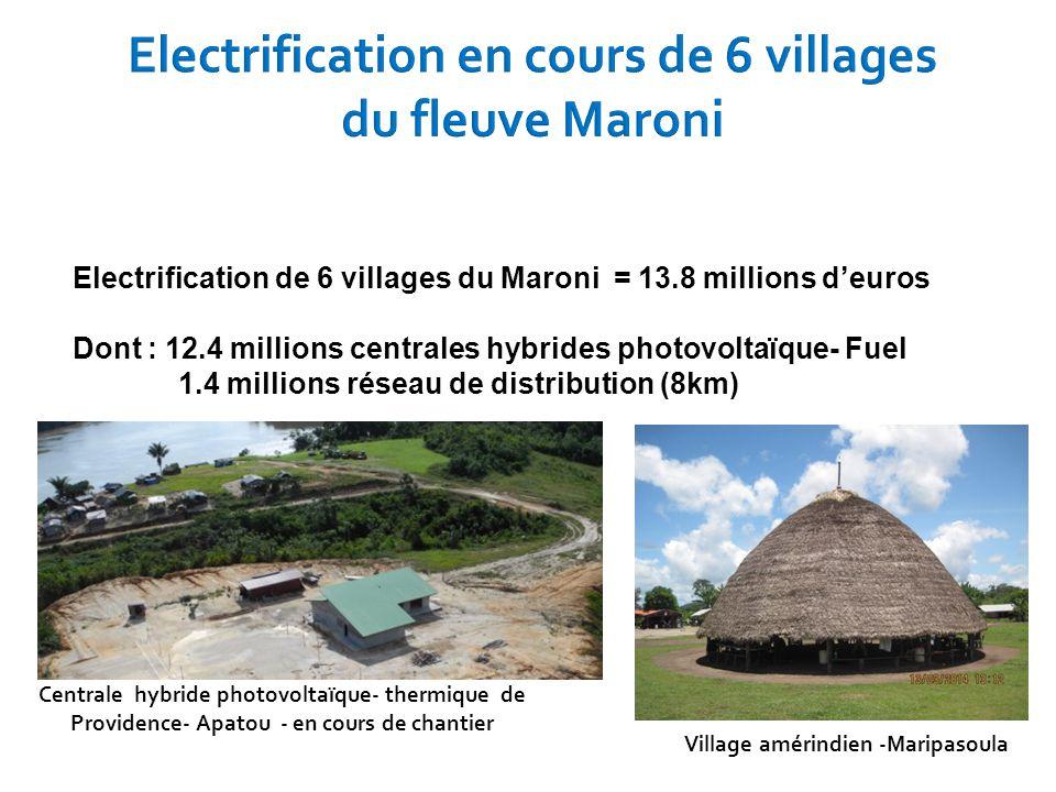 Electrification de 6 villages du Maroni = 13.8 millions d'euros Dont : 12.4 millions centrales hybrides photovoltaïque- Fuel 1.4 millions réseau de di
