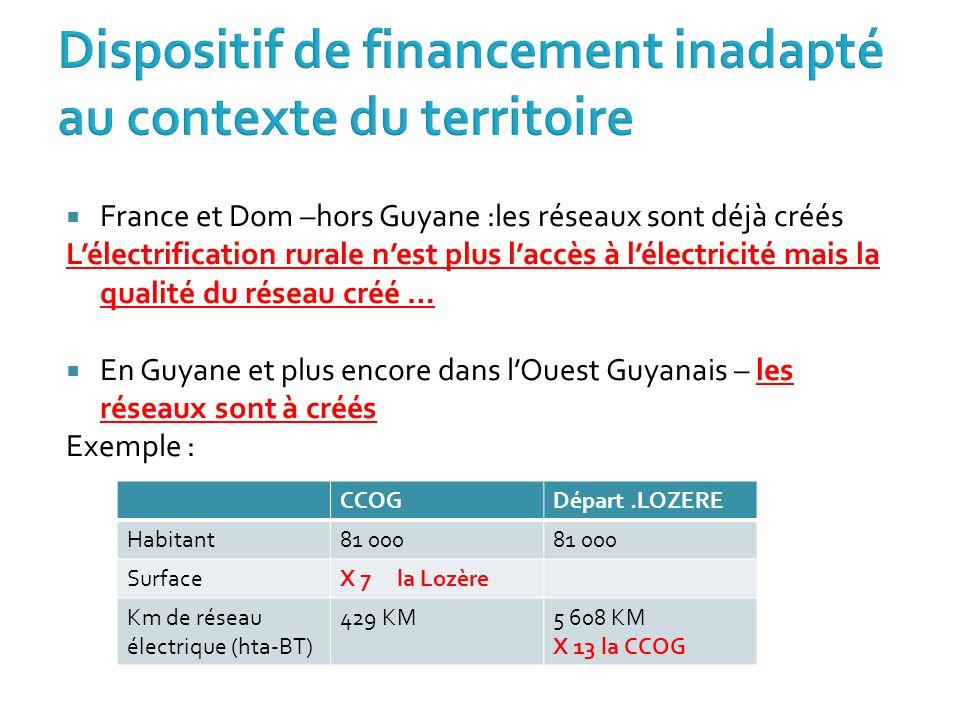  France et Dom –hors Guyane :les réseaux sont déjà créés L'électrification rurale n'est plus l'accès à l'électricité mais la qualité du réseau créé …