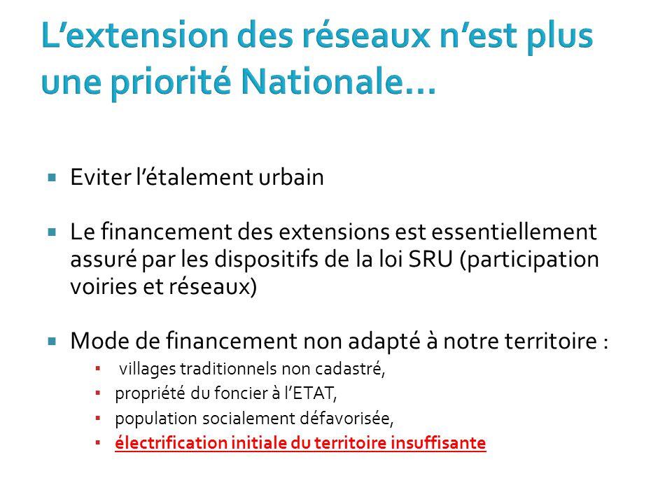  Eviter l'étalement urbain  Le financement des extensions est essentiellement assuré par les dispositifs de la loi SRU (participation voiries et rés