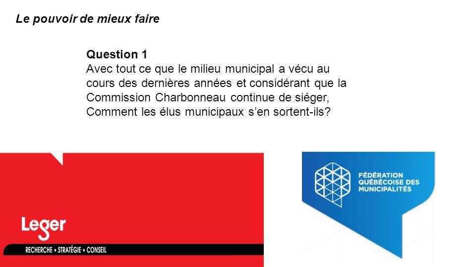 www.leger360.com Question 1 Avec tout ce que le milieu municipal a vécu au cours des dernières années et considérant que la Commission Charbonneau continue de siéger, Comment les élus municipaux s'en sortent-ils.