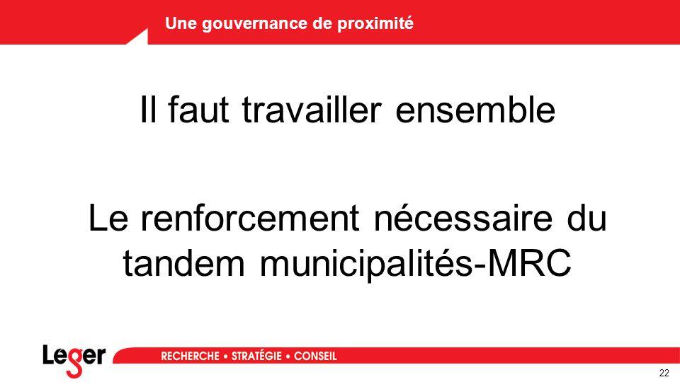 22 Une gouvernance de proximité Il faut travailler ensemble Le renforcement nécessaire du tandem municipalités-MRC