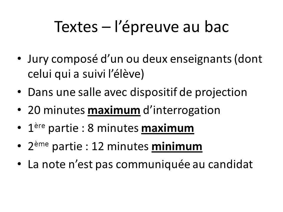 Textes – l'épreuve au bac Jury composé d'un ou deux enseignants (dont celui qui a suivi l'élève) Dans une salle avec dispositif de projection 20 minut