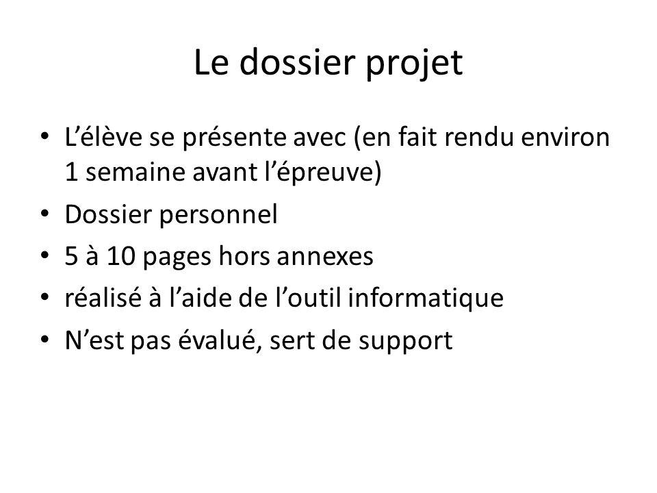 Le dossier projet L'élève se présente avec (en fait rendu environ 1 semaine avant l'épreuve) Dossier personnel 5 à 10 pages hors annexes réalisé à l'a