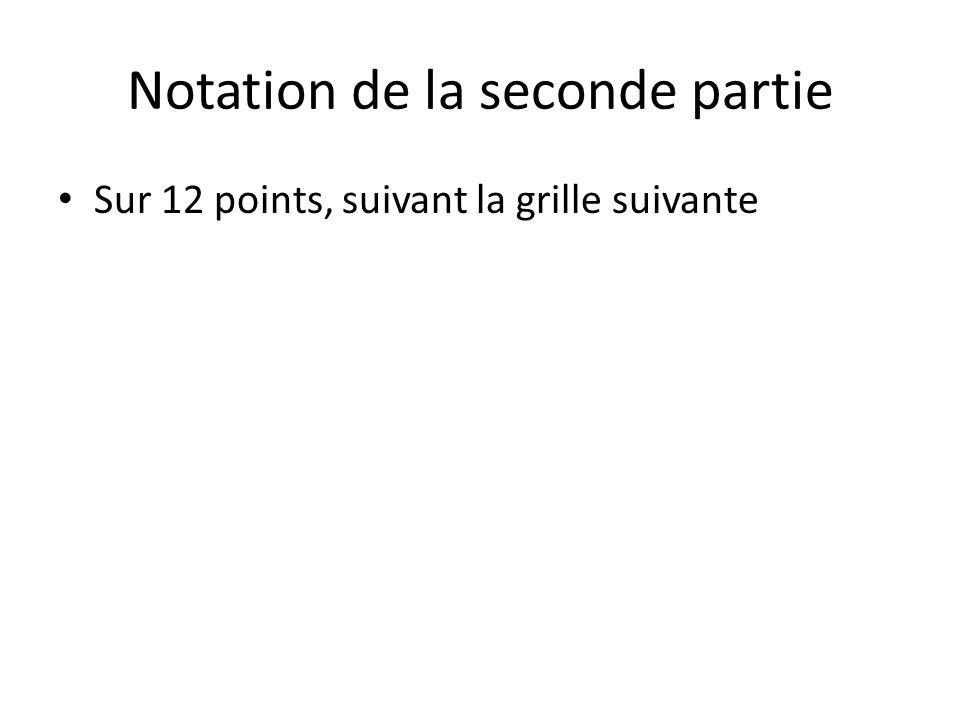 Notation de la seconde partie Sur 12 points, suivant la grille suivante
