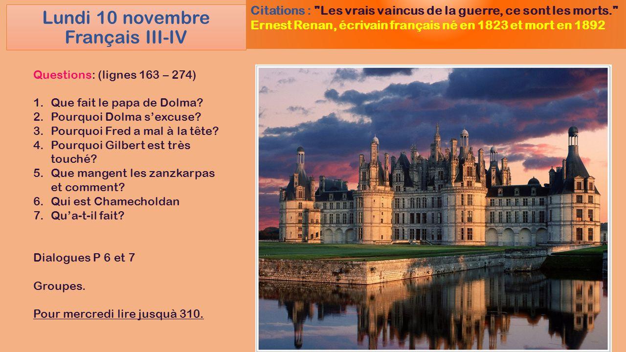 Lundi 10 novembre Français III-IV Citations :