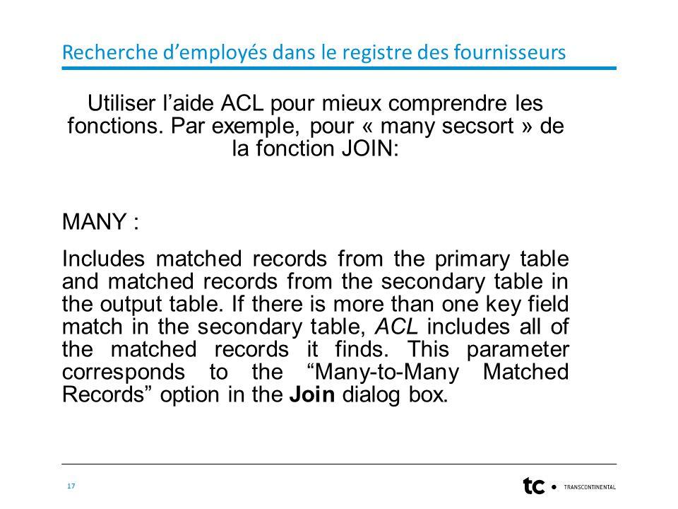 Recherche d'employés dans le registre des fournisseurs 17 Utiliser l'aide ACL pour mieux comprendre les fonctions.