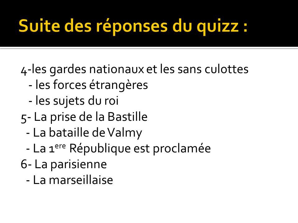 4-les gardes nationaux et les sans culottes - les forces étrangères - les sujets du roi 5- La prise de la Bastille - La bataille de Valmy - La 1 ere R