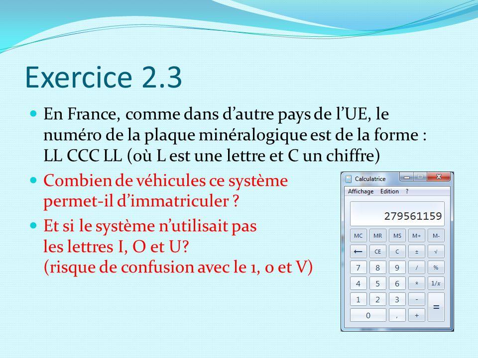 Exercice 2.3 En France, comme dans d'autre pays de l'UE, le numéro de la plaque minéralogique est de la forme : LL CCC LL (où L est une lettre et C un chiffre) Combien de véhicules ce système permet-il d'immatriculer .