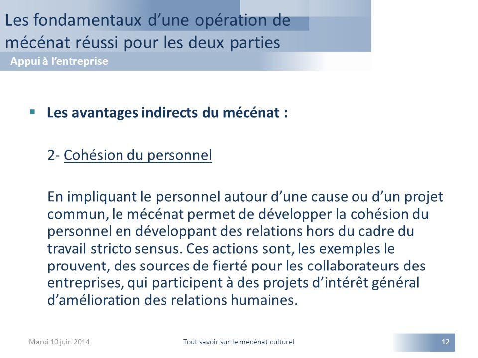  Les avantages indirects du mécénat : 2- Cohésion du personnel En impliquant le personnel autour d'une cause ou d'un projet commun, le mécénat permet