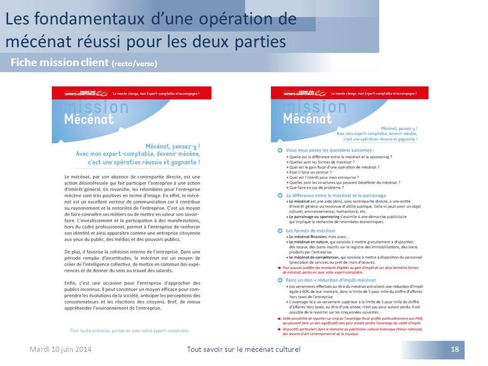 Mardi 10 juin 2014Tout savoir sur le mécénat culturel18 Les fondamentaux d'une opération de mécénat réussi pour les deux parties Fiche mission client