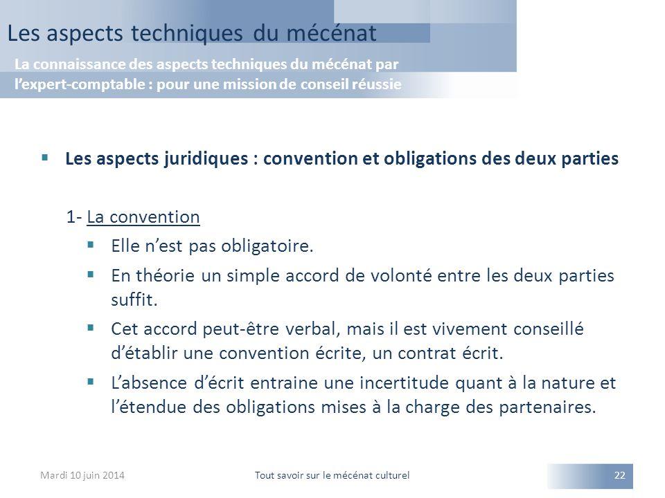  Les aspects juridiques : convention et obligations des deux parties 1- La convention  Elle n'est pas obligatoire.