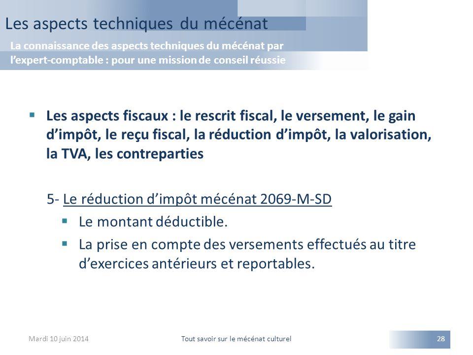 Les aspects fiscaux : le rescrit fiscal, le versement, le gain d'impôt, le reçu fiscal, la réduction d'impôt, la valorisation, la TVA, les contreparties 5- Le réduction d'impôt mécénat 2069-M-SD  Le montant déductible.