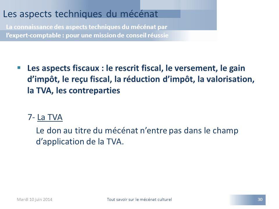  Les aspects fiscaux : le rescrit fiscal, le versement, le gain d'impôt, le reçu fiscal, la réduction d'impôt, la valorisation, la TVA, les contreparties 7- La TVA Le don au titre du mécénat n'entre pas dans le champ d'application de la TVA.